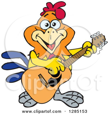 Clipart of a Cartoon Happy Rooster Playing an Acoustic Guitar - Royalty Free Vector Illustration by Dennis Holmes Designs