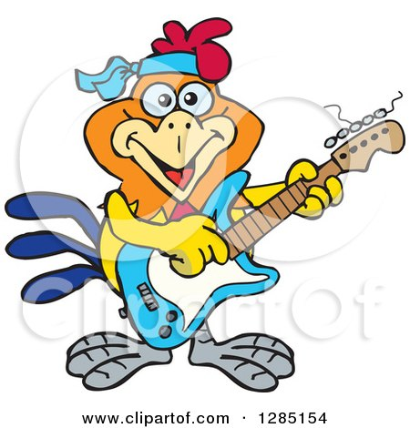 Clipart of a Cartoon Happy Rooster Playing an Electric Guitar - Royalty Free Vector Illustration by Dennis Holmes Designs