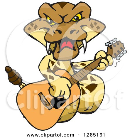 Clipart of a Cartoon Happy Rattlesnake Playing an Acoustic Guitar - Royalty Free Vector Illustration by Dennis Holmes Designs