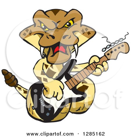Clipart of a Cartoon Happy Rattlesnake Playing an Electric Guitar - Royalty Free Vector Illustration by Dennis Holmes Designs