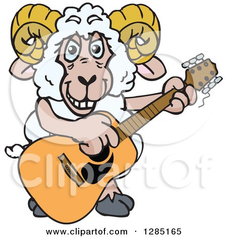 Clipart of a Cartoon Happy Sheep Ram Playing an Acoustic Guitar - Royalty Free Vector Illustration by Dennis Holmes Designs