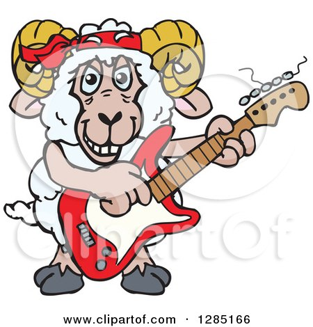 Clipart of a Cartoon Happy Sheep Ram Playing an Electric Guitar - Royalty Free Vector Illustration by Dennis Holmes Designs
