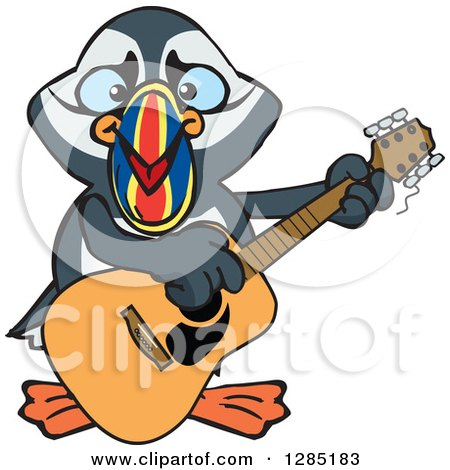 Clipart of a Cartoon Happy Puffin Bird Playing an Acoustic Guitar - Royalty Free Vector Illustration by Dennis Holmes Designs