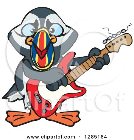 Clipart of a Cartoon Happy Puffin Bird Playing an Electric Guitar - Royalty Free Vector Illustration by Dennis Holmes Designs