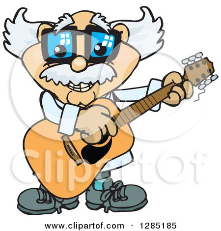 Clipart of a Cartoon Happy Scientist Playing an Acoustic Guitar - Royalty Free Vector Illustration by Dennis Holmes Designs