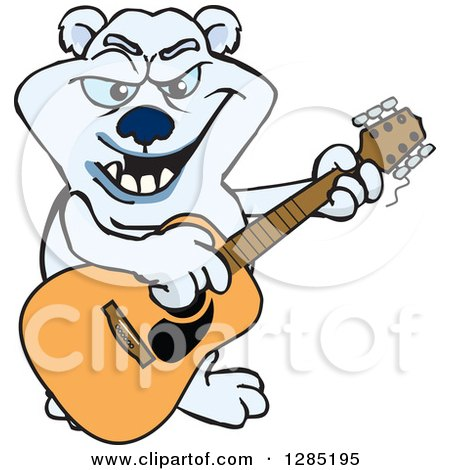 Clipart of a Cartoon Polar Bear Playing an Acoustic Guitar - Royalty Free Vector Illustration by Dennis Holmes Designs