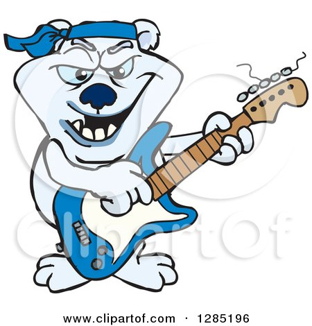 Clipart of a Cartoon Polar Bear Playing an Electric Guitar - Royalty Free Vector Illustration by Dennis Holmes Designs
