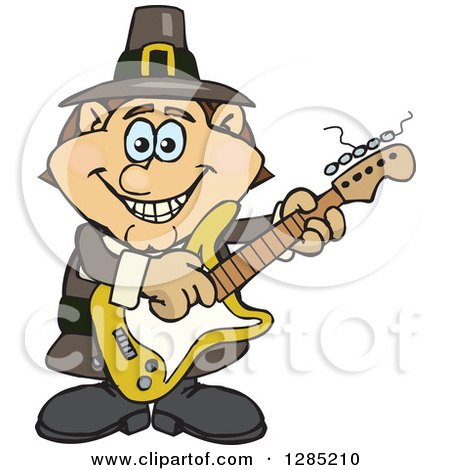 Clipart of a Cartoon Happy Pilgrim Man Playing an Electric Guitar - Royalty Free Vector Illustration by Dennis Holmes Designs