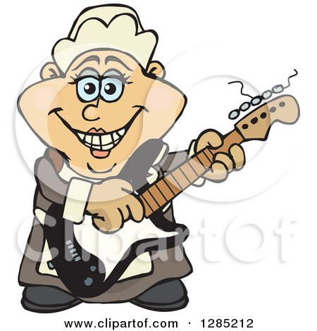 Clipart of a Cartoon Happy Pilgrim Woman Playing an Electric Guitar - Royalty Free Vector Illustration by Dennis Holmes Designs