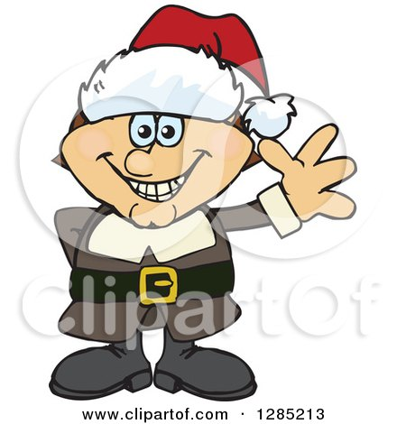 Clipart of a Friendly Waving Male Pilgrim Wearing a Christmas Santa Hat - Royalty Free Vector Illustration by Dennis Holmes Designs