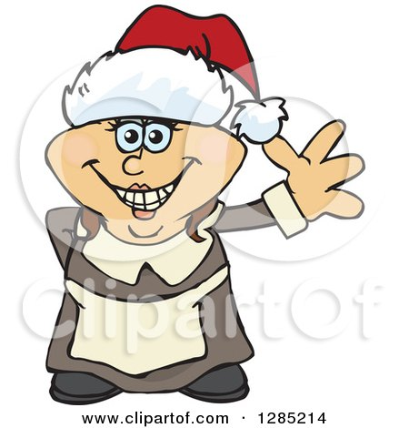 Clipart of a Friendly Waving Female Pilgrim Wearing a Christmas Santa Hat - Royalty Free Vector Illustration by Dennis Holmes Designs