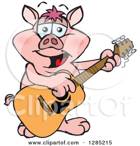 Clipart of a Cartoon Happy Pig Playing an Acoustic Guitar - Royalty Free Vector Illustration by Dennis Holmes Designs