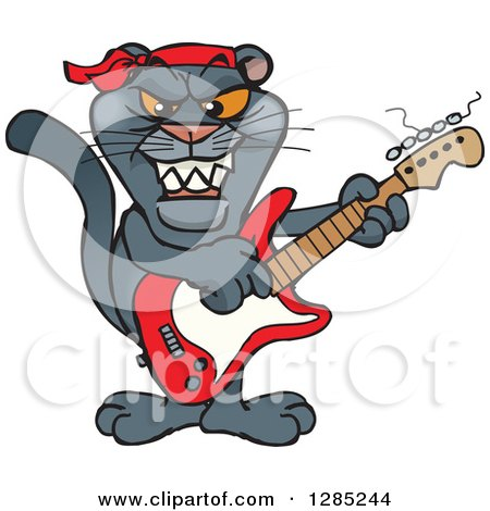 Clipart of a Cartoon Black Panther Playing an Electric ...