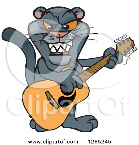 Clipart of a Cartoon Black Panther Playing an Acoustic ...