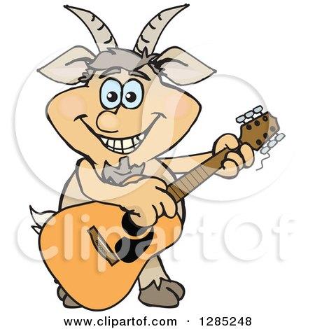 Cartoon Happy Faun Pan Playing an Acoustic Guitar Posters, Art Prints
