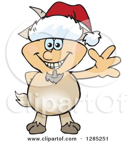 Friendly Waving Faun Pan Wearing a Christmas Santa Hat Posters, Art Prints