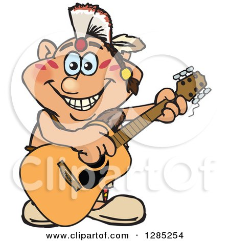Clipart of a Cartoon Happy Native American Man Playing an Acoustic Guitar - Royalty Free Vector Illustration by Dennis Holmes Designs