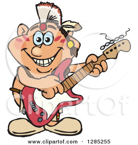Clipart of a Cartoon Happy Native American Man Playing an Electric Guitar - Royalty Free Vector Illustration by Dennis Holmes Designs