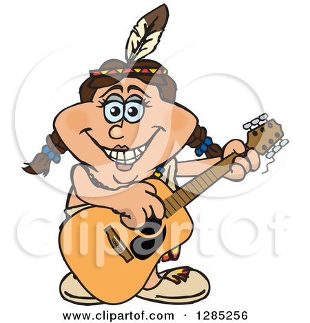 Clipart of a Cartoon Happy Native American Woman Playing an Acoustic Guitar - Royalty Free Vector Illustration by Dennis Holmes Designs
