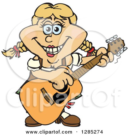 Clipart of a Cartoon Happy German Oktoberfest Woman Playing an Acoustic Guitar - Royalty Free Vector Illustration by Dennis Holmes Designs