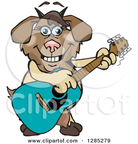 Clipart of a Cartoon Happy Nanny Goat Playing an Acoustic Guitar - Royalty Free Vector Illustration by Dennis Holmes Designs