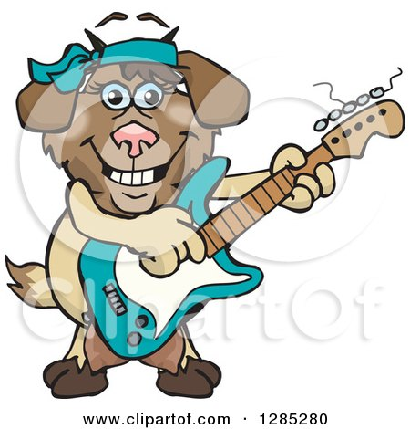 Clipart of a Cartoon Happy Nanny Goat Playing an Electric Guitar - Royalty Free Vector Illustration by Dennis Holmes Designs