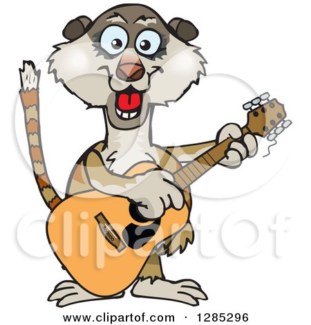 Clipart of a Cartoon Happy Meerkat Playing an Acoustic Guitar - Royalty Free Vector Illustration by Dennis Holmes Designs