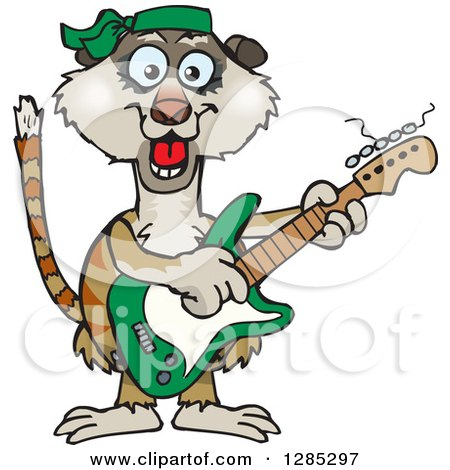 Clipart of a Cartoon Happy Meerkat Playing an Electric Guitar - Royalty Free Vector Illustration by Dennis Holmes Designs