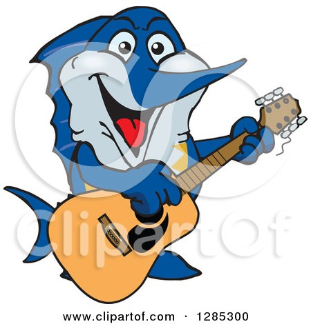 Clipart of a Cartoon Happy Marlin Fish Playing an Acoustic Guitar - Royalty Free Vector Illustration by Dennis Holmes Designs