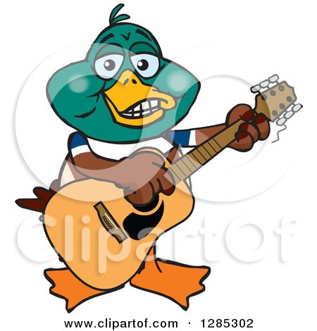 Clipart of a Cartoon Happy Mallard Duck Playing an Acoustic Guitar - Royalty Free Vector Illustration by Dennis Holmes Designs