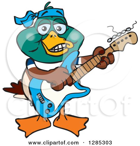 Clipart of a Cartoon Happy Mallard Duck Playing an Electric Guitar - Royalty Free Vector Illustration by Dennis Holmes Designs