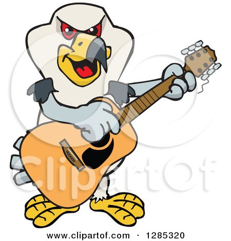 Clipart of a Cartoon Happy Kite Bird Playing an Acoustic Guitar - Royalty Free Vector Illustration by Dennis Holmes Designs