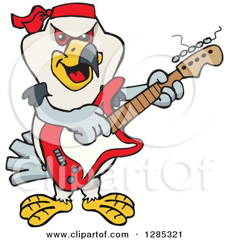 Clipart of a Cartoon Happy Kite Bird Playing an Electric Guitar - Royalty Free Vector Illustration by Dennis Holmes Designs