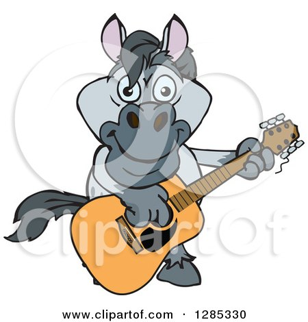 Clipart of a Cartoon Happy Gray Horse Playing an Acoustic Guitar - Royalty Free Vector Illustration by Dennis Holmes Designs