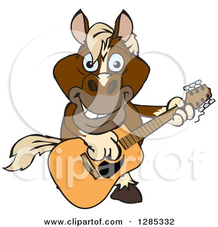Clipart of a Cartoon Happy Brown Horse Playing an Acoustic Guitar - Royalty Free Vector Illustration by Dennis Holmes Designs