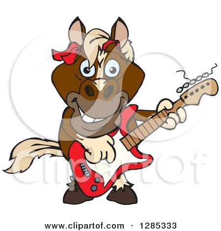 Clipart of a Cartoon Happy Brown Horse Playing an Electric Guitar - Royalty Free Vector Illustration by Dennis Holmes Designs