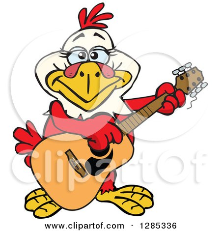 Clipart of a Cartoon Happy Hen Playing an Acoustic Guitar - Royalty Free Vector Illustration by Dennis Holmes Designs