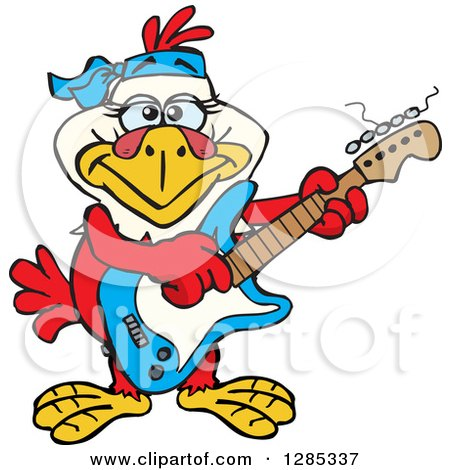 Clipart of a Cartoon Happy Hen Playing an Electric Guitar - Royalty Free Vector Illustration by Dennis Holmes Designs