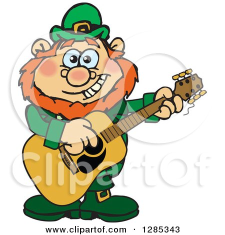Clipart of a Cartoon Happy St Patricks Day Leprechaun Playing an Acoustic Guitar - Royalty Free Vector Illustration by Dennis Holmes Designs