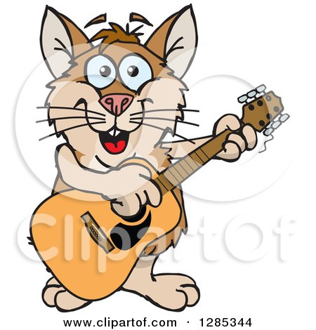 Clipart of a Cartoon Happy Hamster Playing an Acoustic Guitar - Royalty Free Vector Illustration by Dennis Holmes Designs