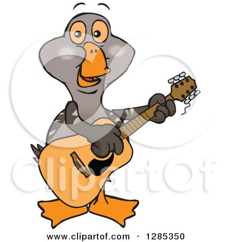 Clipart of a Cartoon Happy Goose Playing an Acoustic Guitar - Royalty Free Vector Illustration by Dennis Holmes Designs