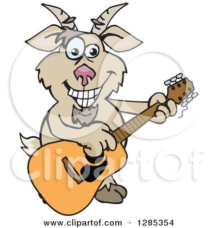 Clipart of a Cartoon Happy Goat Playing an Acoustic Guitar - Royalty Free Vector Illustration by Dennis Holmes Designs