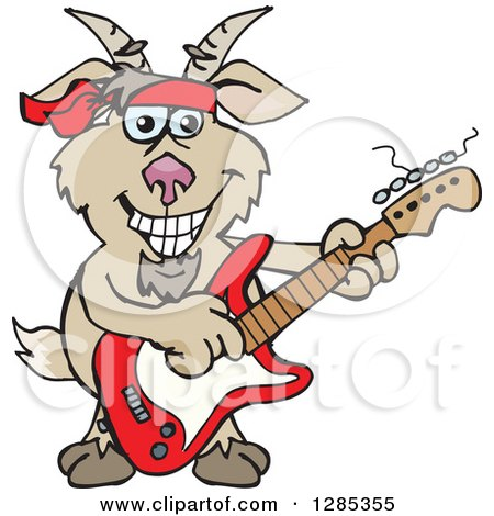 Clipart of a Cartoon Happy Goat Playing an Electric Guitar - Royalty Free Vector Illustration by Dennis Holmes Designs