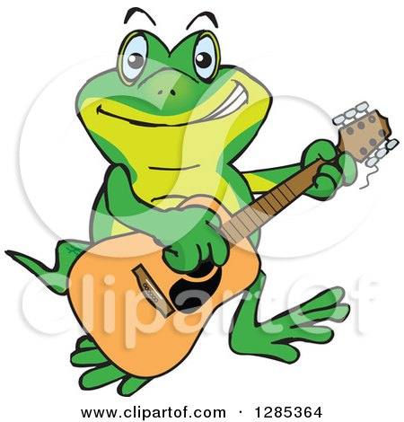 Clipart of a Cartoon Happy Gecko Playing an Acoustic Guitar - Royalty Free Vector Illustration by Dennis Holmes Designs