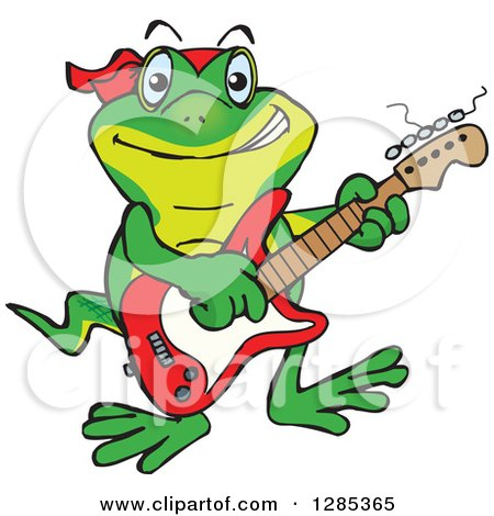 Clipart of a Cartoon Happy Gecko Playing an Electric Guitar - Royalty Free Vector Illustration by Dennis Holmes Designs