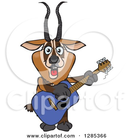Clipart of a Cartoon Happy Gazelle Playing an Acoustic Guitar - Royalty Free Vector Illustration by Dennis Holmes Designs