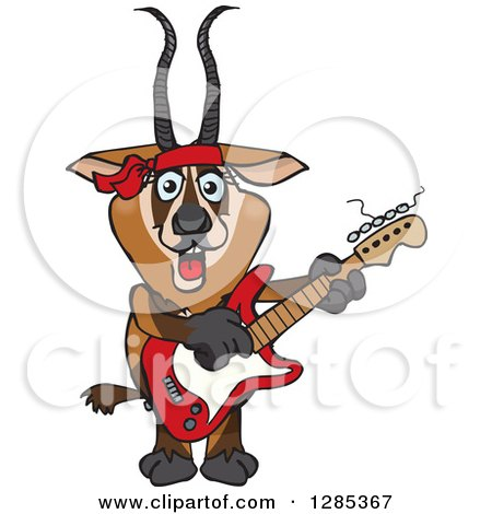 Clipart of a Cartoon Happy Gazelle Playing an Electric Guitar - Royalty Free Vector Illustration by Dennis Holmes Designs
