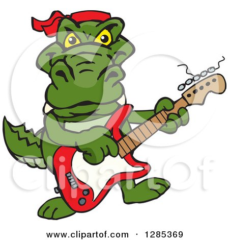 Clipart of a Cartoon Happy Alligator Playing an Electric Guitar - Royalty Free Vector Illustration by Dennis Holmes Designs
