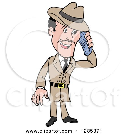 Clipart of a Cartoon Caucasian Male Detective Talking on a Cell Phone - Royalty Free Vector Illustration by LaffToon