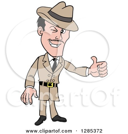 Clipart of a Cartoon Caucasian Male Detective Winking and Giving a Thumb up - Royalty Free Vector Illustration by LaffToon